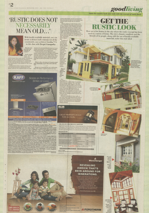 Feature in Times of India Pr.Ar.Geetha VG, 01-111107-2011